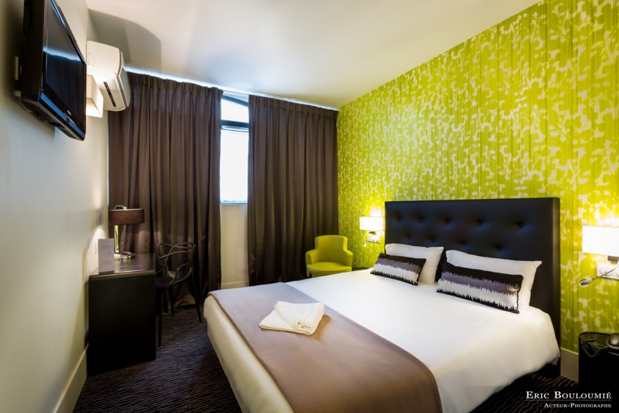 photographie d'une chambre d'hôtel réalisée par un photographe professionnel d'architecture